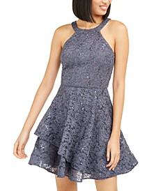Juniors' Glitter-Lace Dress