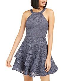 Juniors' Glitter-Lace Dress