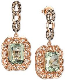 Le Vian® Mint Julep Quartz (5-3/8 ct. t.w.) & Diamond (3/4 ct. t.w.) Drop Earrings in 14k Rose Gold