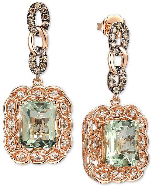 Le Vian Mint Julep Quartz (5-3/8 ct. t.w.) & Diamond (3/4 ct. t.w.) Drop Earrings in 14k Rose Gold