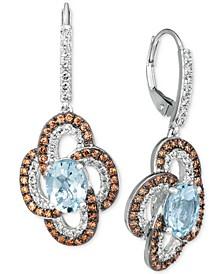 Sea Blue Aquamarine® (2 ct. t.w.), Nude Diamonds™ (5/8 ct. t.w.) & Chocolate Diamonds® (5/8 ct. t.w.) Drop Earrings In 14k White Gold