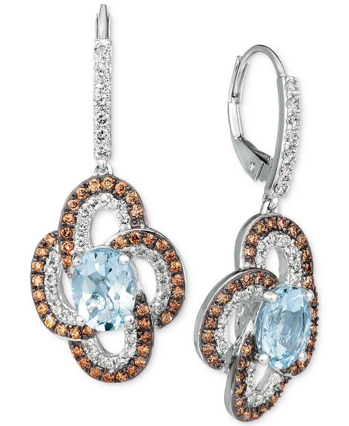 Le Vian - Sea Blue Aquamarine® (2 ct. t.w.), Nude Diamonds™ (5/8 ct. t.w.) & Chocolate Diamonds® (5/8 ct. t.w.) Drop Earrings In 14k White Gold