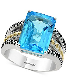 EFFY® Blue Topaz Statement Ring (3-3/8 ct. t.w.) in Sterling Silver & 18k Gold