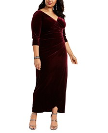 Plus Size Velvet Surplice Gown