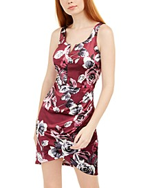 Juniors' Printed Satin Dress