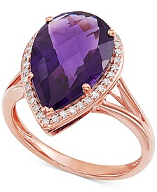 Amethyst (4-5/8 ct. t.w.) & Diamond (1/6 ct. t.w.) Statement Ring in 14k Rose Gold