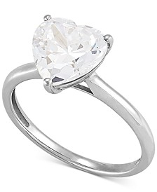 Arabella Swarovski Zirconia Heart Ring in 14k White Gold