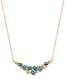 "London Blue Topaz (3-7/8 ct. t.w.) & Diamond (1/20 ct. t.w.) 18""  Statement Necklace in 14k Gold"