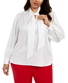 Plus Size Tie-Neck Jacquard Top