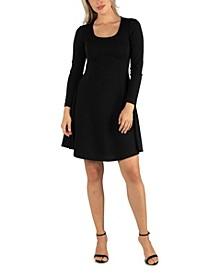 Women's Simple Long Sleeve Knee Length Flared Dress
