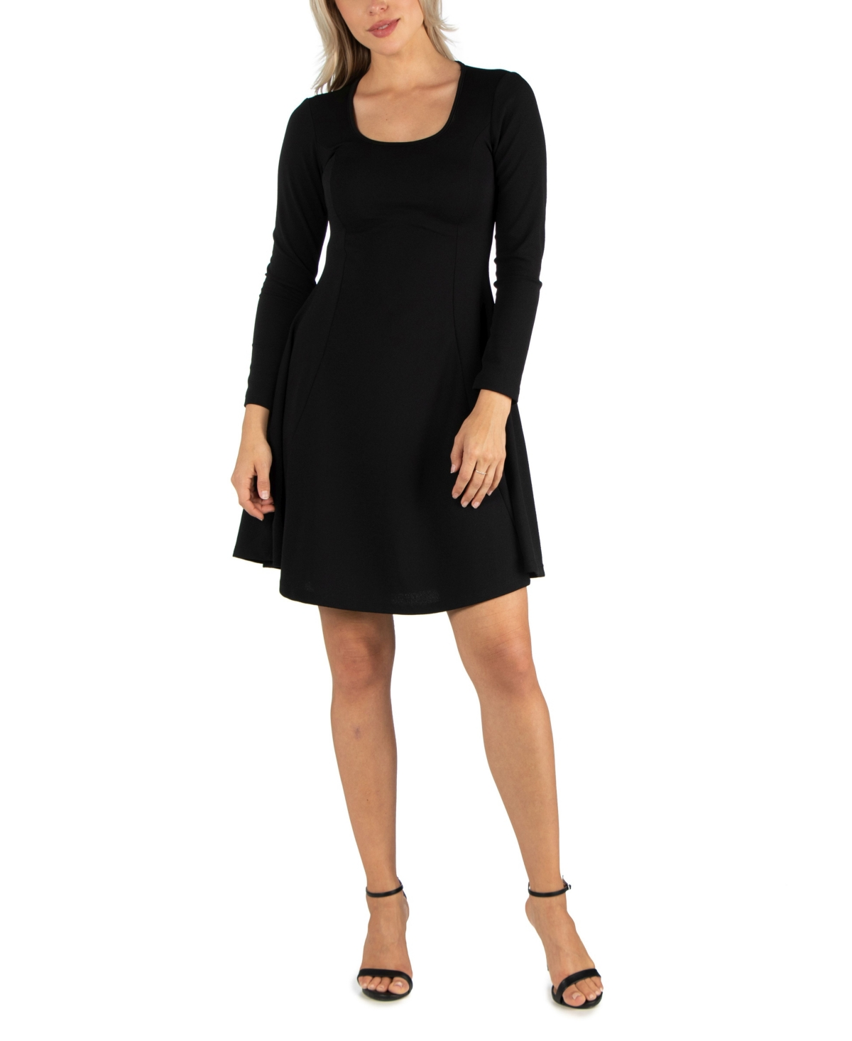 24seven Comfort Apparel Womens Simple Long Sleeve Knee Length Flared Dress