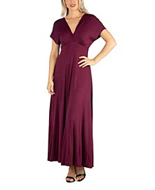 Women's Cap Sleeve V Neck Maxi Dress