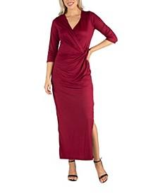 Women's Ankle Length Side Slit Formal Maxi Dress