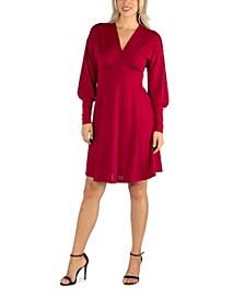 Women's Long Sleeve V-Neck Cocktail Dress