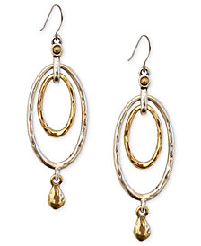 Lucky Brand Earrings, Two-Tone Oval Orbital Drop Earrings