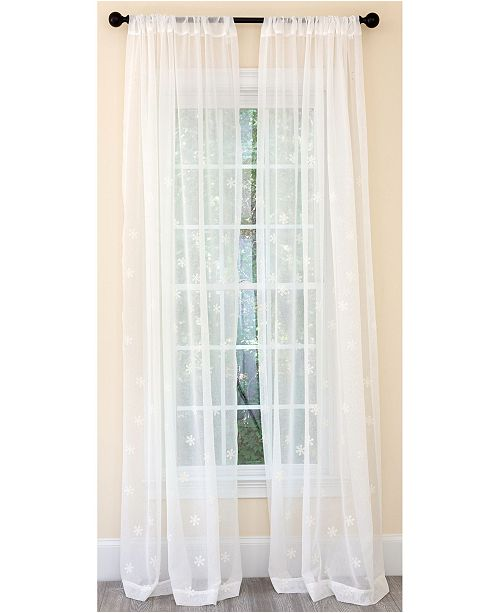 Manor Luxe Falling Snowflake Embroidered Sheer Rod Pocket Curtain Collection
