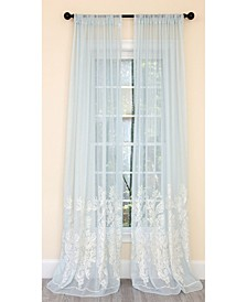 Vivid Ocean Coral Embroidered Semi Sheer Rod Pocket Curtain Collection