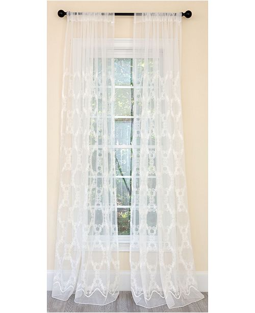 Manor Luxe Krystal Clear Geometric Embroidered Sheer Rod Pocket Curtain Collection