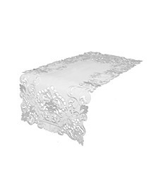 "Garden Trellis Embroidered Cutwork Table Runner, 15"" x 34"""
