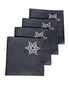 "Glisten Snowflake Embroidered Christmas Napkins, 20"" x 20"", Set of 4"