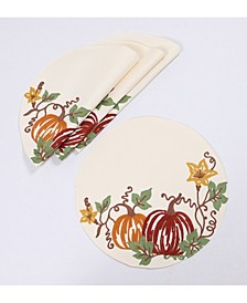 Happy Fall Pumpkins Crewel Embroidered Placemats, Set of 4