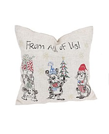 "Animal's Fun Holiday Party Embroidered Pillow, 14"" x 14"""