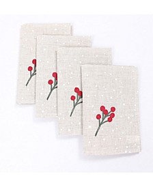 """Holly Berry Branch Crewel Embroidered Christmas Napkins, 20"""" x 20"""", Set of 4"""