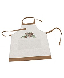 Winter Pine Cones and Branches Crewel Embroidered Apron