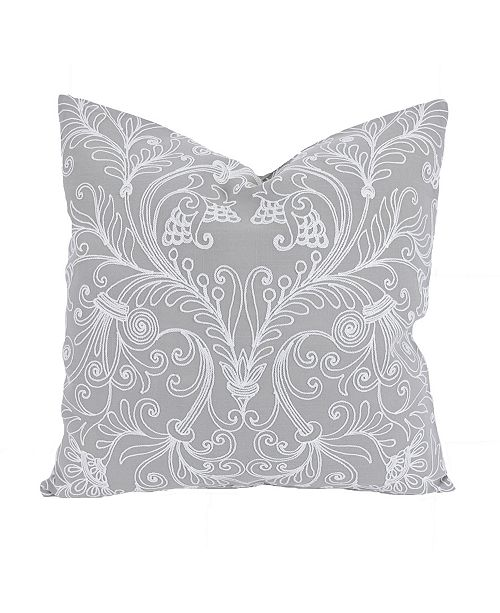"""Manor Luxe Jacquard Crewel Embroidered Pillow, 20"""" x 20"""" with Feather Insert"""