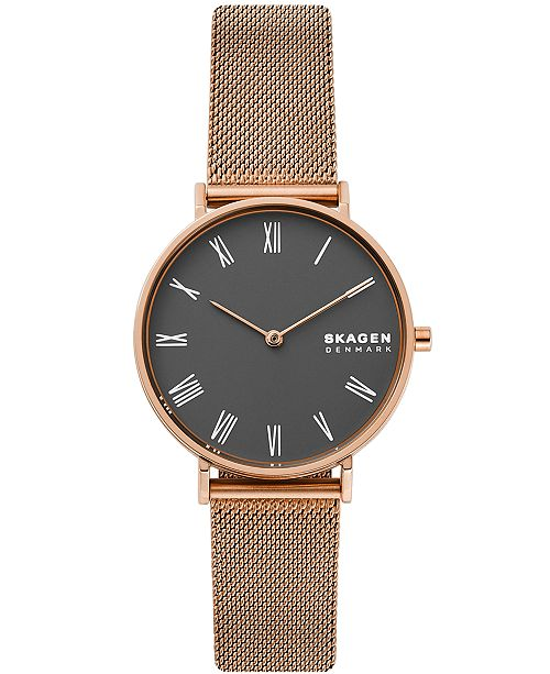 Skagen Women's Hald Rose Gold-Tone Stainless Steel Mesh Bracelet Watch 34mm