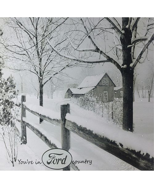 """Northlight Fiber Optic Lighted You are in Ford Country Snowy Cabin Canvas Wall Art, 12"""" x 15.75"""""""