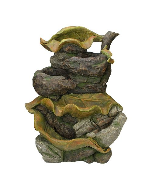 Northlight Mossy Leaves 5-Tier Outdoor Patio Garden Water Fountain