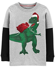Little & Big Boys Dinosaur-Print Layered-Look Cotton T-Shirt