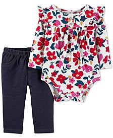 Baby Girls 2-Pc. Floral-Print Ruffled Bodysuit & Pants Set
