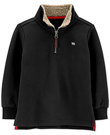 Carter's Baby Boys Half-Zip Pullover Fleece Sweater With Faux-Shearling Trim