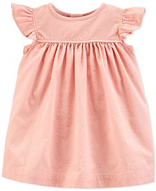 Baby Girls Cotton Glitter Dot Corduroy Dress