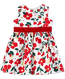 Baby Girls Sateen Floral-Print Dress