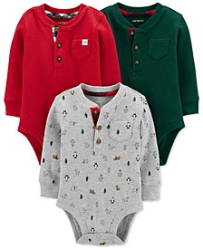 Baby Boys 3-Pk. Cotton Thermal Holiday Bodysuits