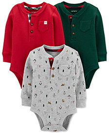 Carter's Baby Boys 3-Pk. Cotton Thermal Holiday Bodysuits