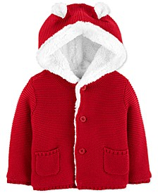 Baby Boys Hooded Cardigan With Faux-Sherpa Lining