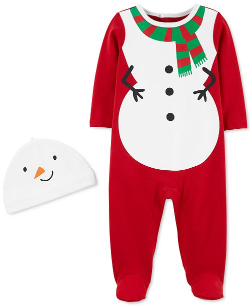 Carter's Baby Boys & Girls 2-Pc. Cotton Snowman Coverall & Hat Set