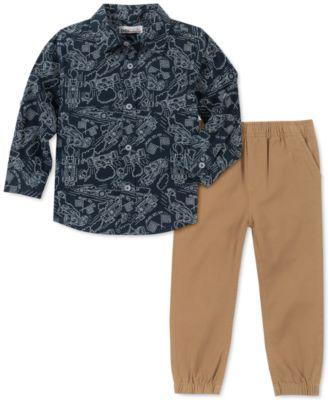 Kids Headquarters Infant Boys 3 Piece Orange Race Car Shirt Pants /& Vest
