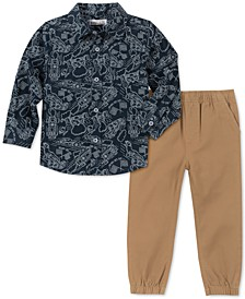 Little Boys 2-Pc. Race Car-Print Oxford Shirt & Twill Pants Set