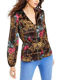 Printed Zip Peplum Top, Created for Macy's