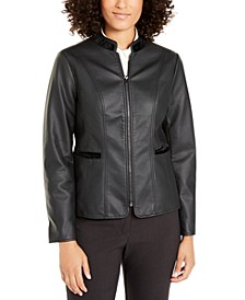 Faux-Leather Velvet-Trim Jacket, Created For Macy's