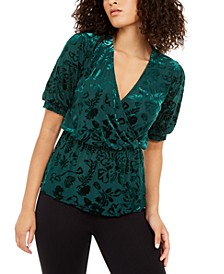 Velvet Burnout Wrap Top, Created For Macy's