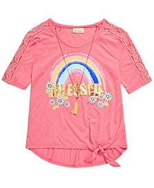 Big Girls Flip Sequin Blessed Rainbow T-Shirt & Necklace