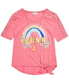 Belle Du Jour Little Girls Blessed Rainbow T-Shirt & Necklace