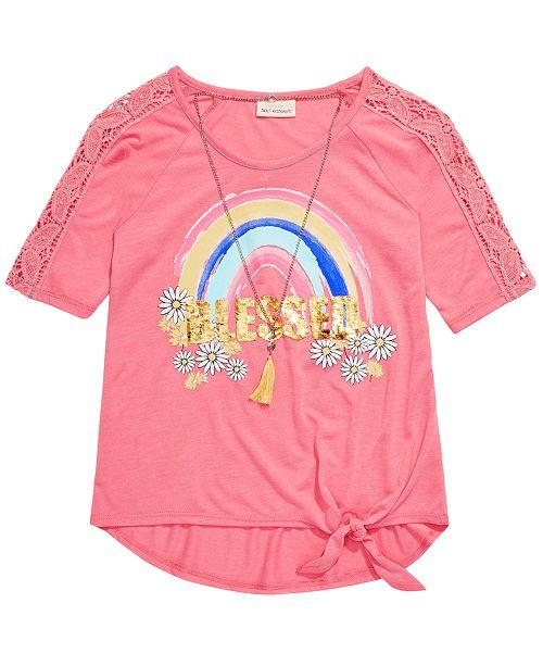 Belle Du Jour Big Girls Flip Sequin Blessed Rainbow T-Shirt & Necklace