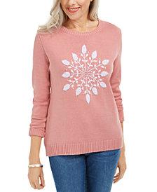 Karen Scott Snowflake Appliqué Sweater, Created For Macy's